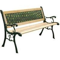 AJ Begel 3 Seater Garden Bench - Wood And Cast Iron Wood Cast Iron - NETFURNITURE