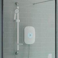 SmartCare Plus White Electric Shower, Silver/White Kit, 9.5kW - AKW