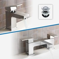 Aldo Bathroom Chrome Solid Brass Basin Mixer Tap and Bath Filler Mixer Tap + Waste