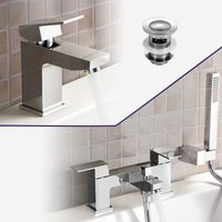Aldo Bathroom Chrome Solid Brass Basin Mixer Tap and Bath Shower Mixer Tap + Waste - NESHOME