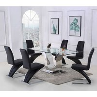 Alexandria Glass and Chrome 180 cm Dining Table and 6 Black