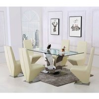 Alexandria Glass and Chrome 180 cm Dining Table and 6 Ivory