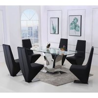 Alexandria Glass and Chrome 180 cm Dining Table and 8 Black