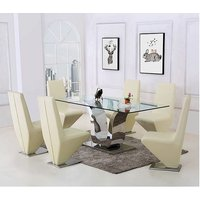 Alexandria Glass and Chrome 180 cm Dining Table and 8 Ivory
