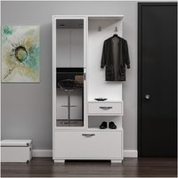 Alfor Hall Unit - Closet, Coat Rack, Shoe Bench - with Mirror, Doors, Drawer, Shelves - White, made in Wood, 90 x 35 x 184 cm - HOMEMANIA