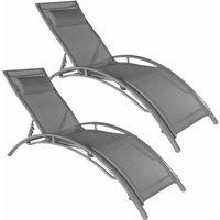 Set of 2 Alina sun loungers - garden lounger, reclining sun lounger, garden sun lounger - grey