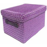 Neon Bright Colours Kids Playroom Toy Box Cupboard Storage Basket + Handle and Lid [Purple,Medium 26x20x19cm]