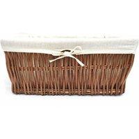 Wider Large Big Deep Lined Kitchen Wicker Storage Basket Xmas Hamper Basket [Oak/Brown,Small 34x22x16cm]