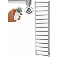 ALPINE Modern Heated Towel Rail / Warmer, Chrome - Electric, Thermostat + Timer, 170cm x 10cm