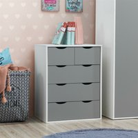 Timber Art Design Uk - Alton 3+2 Drawer Bedroom Cabinet Bedside Chest Of Drawers White and Grey