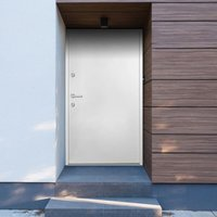 Aluminium Front Door White 110x207.5 cm - White - Vidaxl