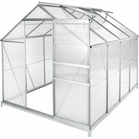 Greenhouse aluminium polycarbonate with foundation - polycarbonate greenhouse, walk in greenhouse, greenhouse base - 250 x 185 x 195 cm - TECTAKE