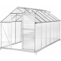 Tectake - Greenhouse aluminium polycarbonate with foundation - polycarbonate greenhouse, walk in greenhouse, greenhouse base - 375 x 185 x 195 cm