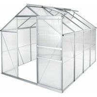 Greenhouse aluminium polycarbonate without foundation - polycarbonate greenhouse, walk in greenhouse, garden greenhouse - 250 x 185 x 195 cm - TECTAKE