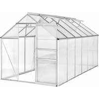 Greenhouse aluminium polycarbonate without foundation - polycarbonate greenhouse, walk in greenhouse, garden greenhouse - 375 x 185 x 195 cm - TECTAKE