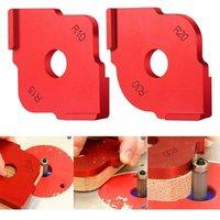 Bearsu - Aluminium Router Table Carpenter Corner Radius Stencil Pack of 2 Wooden Plates Quick Radius Corner Table Bits Router Jig Angle Templates