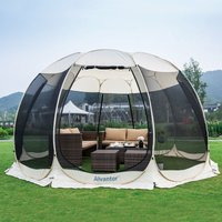 Screen House Pop Up Gazebo, 12-15 Person Instant Mosquito Netting Camping Dome Tent, UV Resistant Event Shelter Canopy Tent for Garden, Patio,