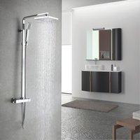 Amana Modern Bathroom Square Chrome Dual Control Thermostatic Shower Mixer Valve