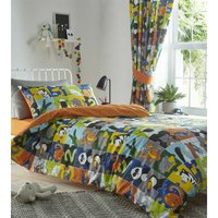 Animal Jigsaw Childrens Duvet Cover Set Single Size Reversible Patchwork Bedding Set