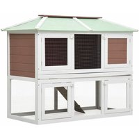 Animal Rabbit Cage Double Floor Brown Wood - YOUTHUP