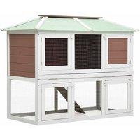 Animal Rabbit Cage Double Floor Brown Wood - Brown - Vidaxl