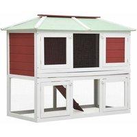 Animal Rabbit Cage Double Floor Red Wood - Red - Vidaxl