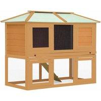 Animal Rabbit Cage Double Floor Wood - Brown - Vidaxl