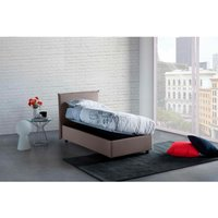 Anna Single Bed Container with Removable Side Opening Made in Italy Turtledove with Mattress - TALAMO ITALIA