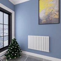 Aica - 600x884mm White Horizontal Designer Radiator Double Flat Panel Heating Rads UK