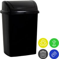 Trash Can With Lid Incl. 4 Waste Separation Stickers Plastic 24 L Round Swing Lid Kitchen Rubbish Bin Various Colours Schwarz (de) - Monzana