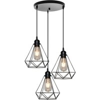 Antique 3 Lights Pendant Light,Industrial Hanging Light Black Ø20CM E27 Metal Iron Chandelier Retro Hanging Lamp Vintage Diamond Pendant Light