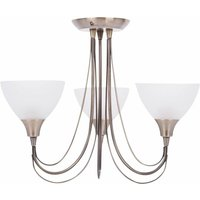 Antique Brass and Frosted Glass 3 Light Semi Flush
