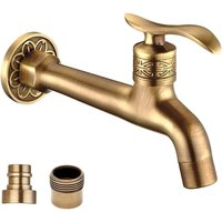 Antique Brass Lever Handle Laundry Bathroom Wall Mount Washing Machine Faucet Outdoor Garden Hose Single Cold Tap (Long)