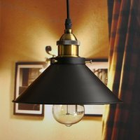Vintage Pendant Light Classic Simple Hanging Ceiling Lamp Retro Metal Iron Lamp Shade Ø22cm Chandelier Black