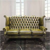 Designer Sofas 4 U - Antique Gold Chesterfield 3 Seater High Back chair | DesignerSofas4U