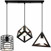 Antique Industrial Pendant Light 3 Heads Creative Metal Ceiling Light DIY Adjustable Chandelier Black for Bedroom Loft Bar Kitchen Cafe