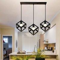 Antique Industrial Pendant Light Metal Retro Chandelier Cube Hanging Light Creative Black 3 Heads Ceiling Light for Office Cafe Bedroom Kitchen