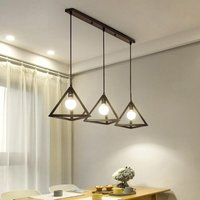 Antique Pendant Light Vintage Pendant Lamp Retro Hanging Light 3 Lights Triangle Ceiling Light Metal Chandelier Black for Cafe Bedroom Kitchen Living