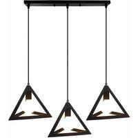 Antique Pendant Light Vintage Pendant Lamp Retro Hanging Light 3 Lights Triangle Ceiling Light Metal Chandelier for Cafe Bar Office Black