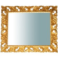 ANTIQUED GOLD LEAF FINISH VERTICAL/HORIZONTAL Hanging Wall Mirror W120XD8XH100 CM. MADE IN ITALY - BISCOTTINI