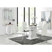 Furniturebox Uk - Apollo Rectangle White High Gloss Chrome Dining Table And 4 White Lorenzo Chairs Set