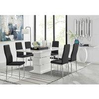 Furniturebox Uk - Apollo Rectangle White High Gloss Chrome Dining Table And 6 Black Milan Chairs Set