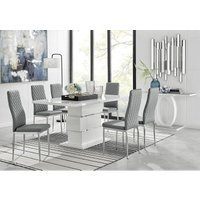 Furniturebox Uk - Apollo Rectangle White High Gloss Chrome Dining Table And 6 Elephant Grey Milan Chairs Set