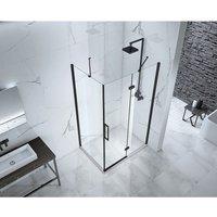 Aquaglass Onyx 8mm Black Framed Hinged Door with Inline Panel 1400mm - FRONTLINE BATHROOMS