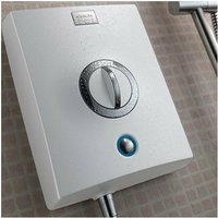 Quartz 8.5kW Electric Shower with Adjustable Height Head White / Chrome - Aqualisa