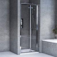 Aqualux AQX 6 Bi-Fold Shower Door 800mm Wide Silver Frame 6mm Glass