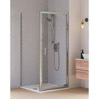 HD6 KIT 6mm Pivot Door + Side Panel + Tray + Waste 800 x 800 x 1935mm Silver Clear Glass - Aqualux