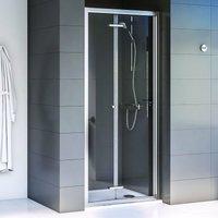 Shine 6 Bi-Fold Shower Door 900mm Wide Silver Frame 6mm Glass - Aqualux