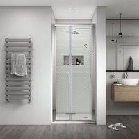 Shine 8 Semi Frameless Bi-Fold Shower Door 800mm Wide Silver Frame - 8mm Glass - Aqualux