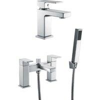 Aquwa Square Solid Brass Chrome Basin Mono and Bath Shower Mixer Taps